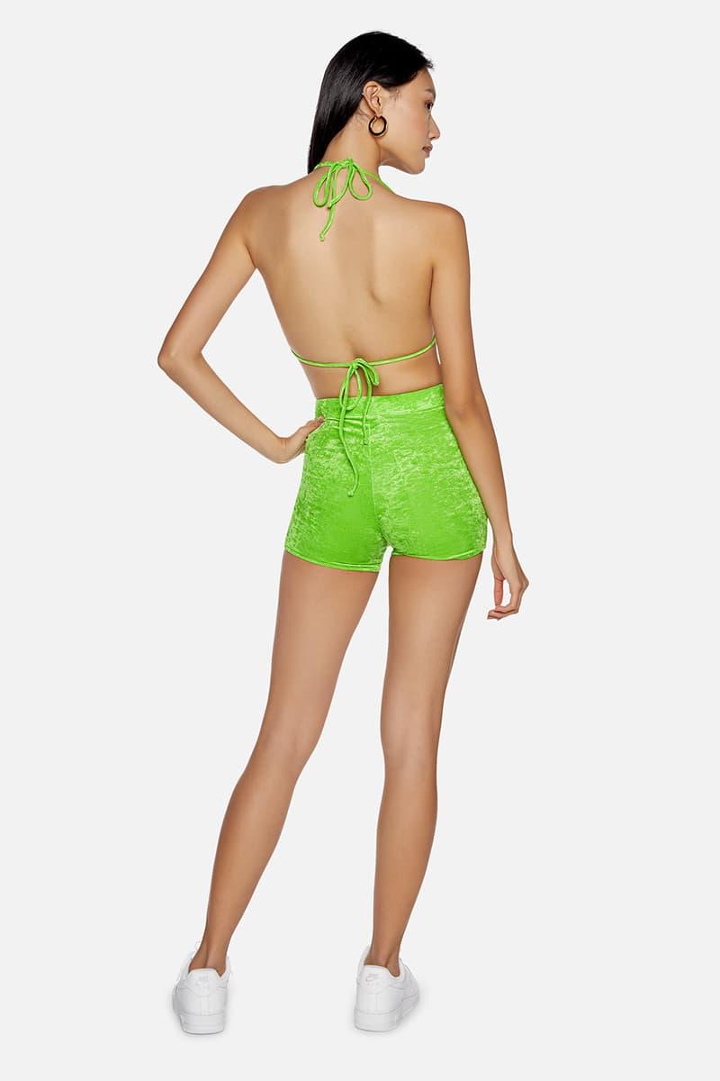 kith frankies bikinis collaboration bottom top biker shorts neon green