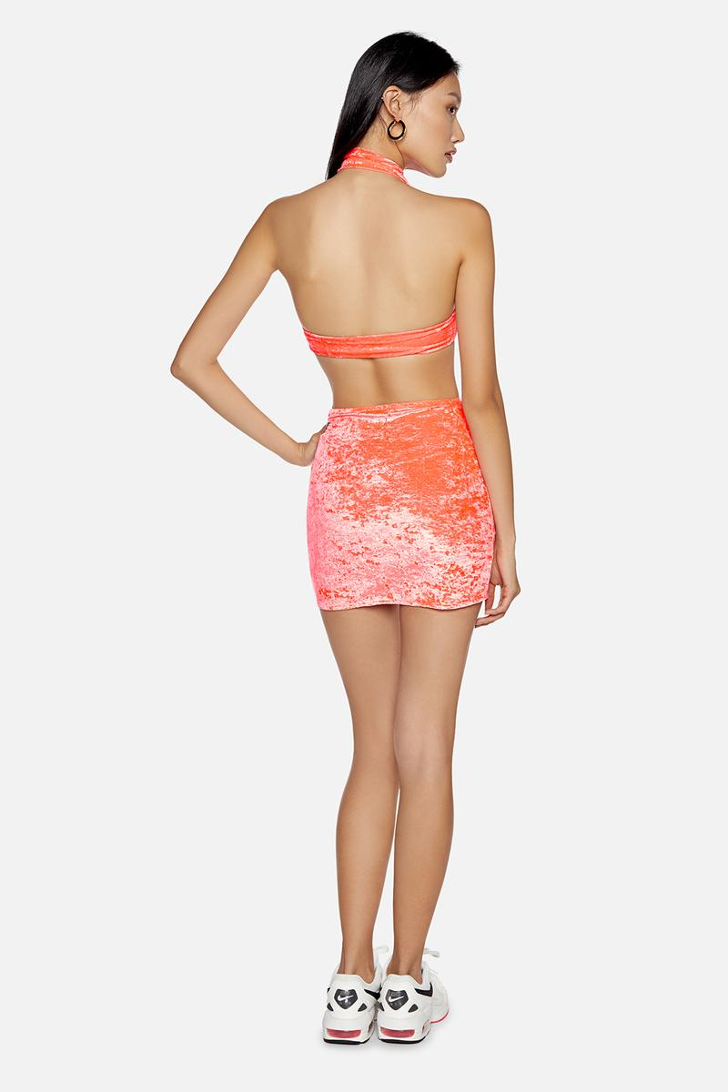 kith frankies bikinis collaboration bottom skirt top neon pink