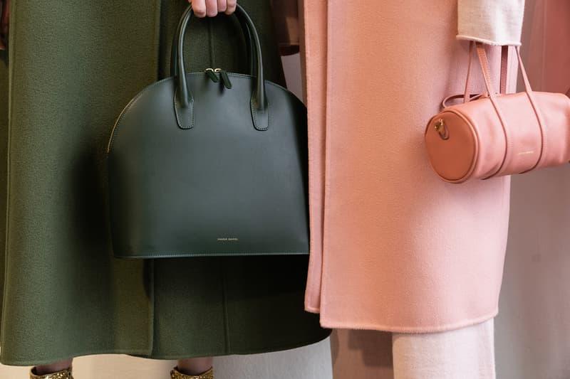 Mansur Gavriel Fall Winter 2018 FW18 Presentation New York Fashion Week NYFW Pink Duffle Bag Dark Green Handbag Coat