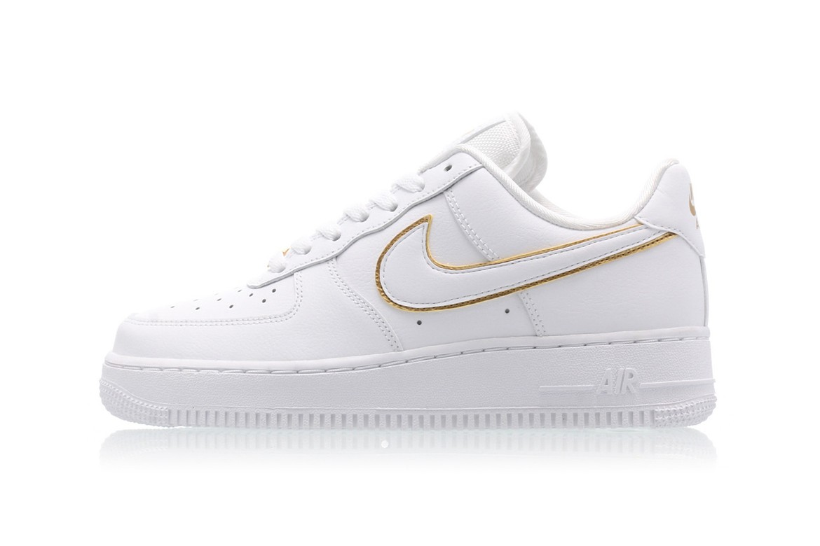 Nike Air Force 1 Black White Gold Swoosh Outline Hypebae