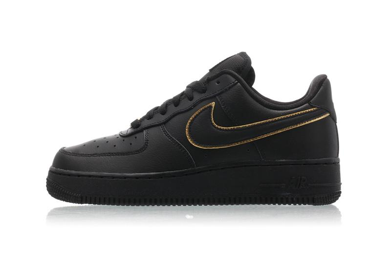 Nike Air Force 1 07 Black White Monochrome Gold Swoosh Outline Sneakers Womens Ladies AF1