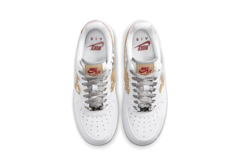 Nike Air Force 1 Metallic Gold Silver Stars Sneaker White Red Trainer Footwear