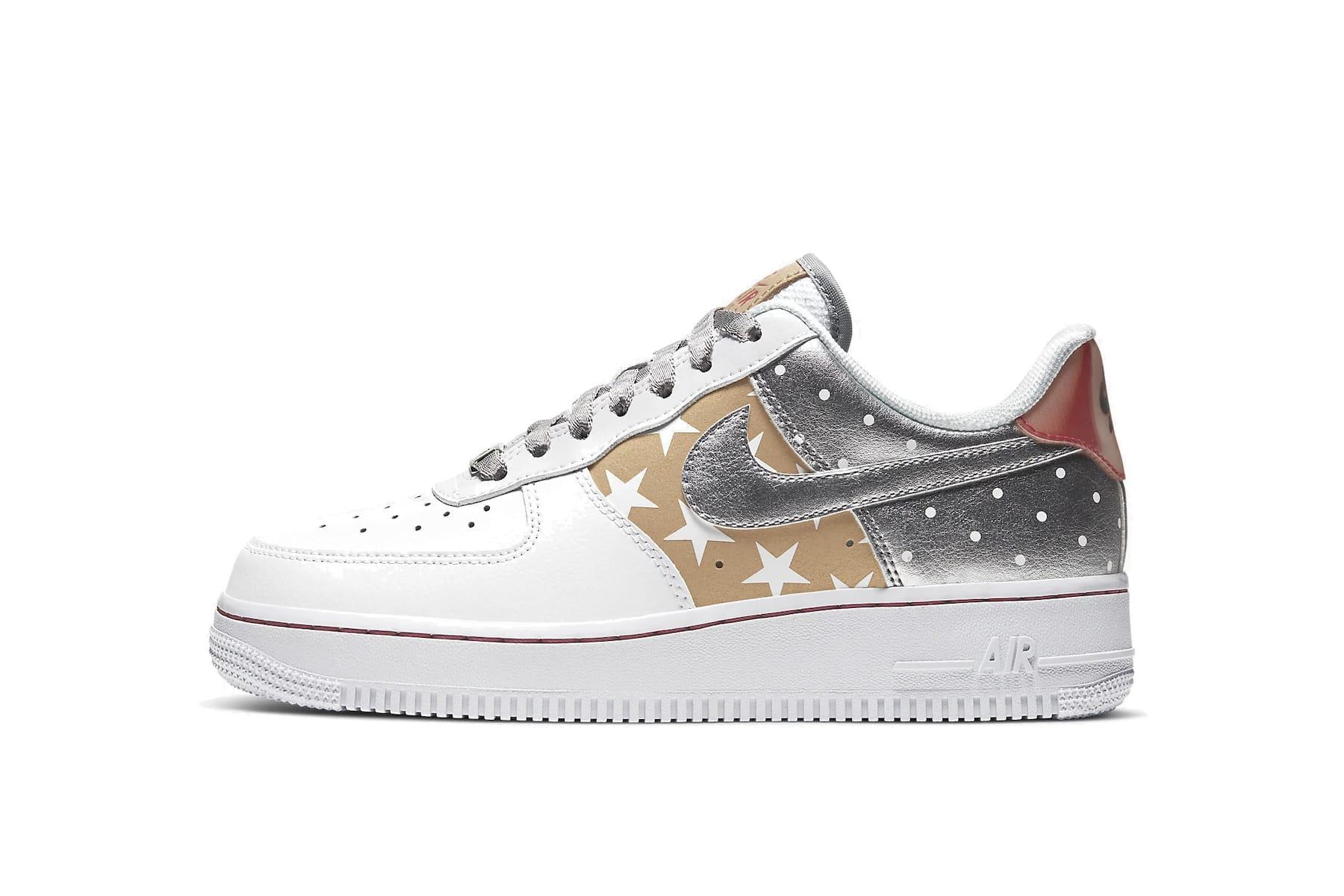 Nike Air Force 1 Metallic Gold Silver