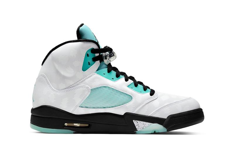nike air jordan 5 retro sneakers blue island green white black shoes sneakerhead footwear