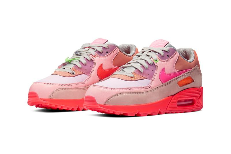 Nike Air Max 90 Bright Crimson Removable Swoosh Neon Pink Red