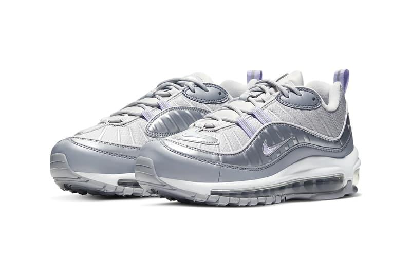 nike air max 98 womens sneakers vast grey metallic platinum wolf grey purple agate shoes footwear sneakerhead