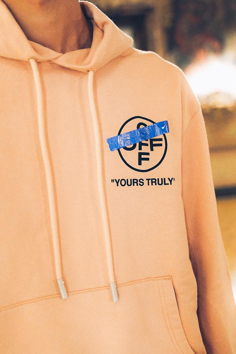 off white virgil abloh yours truly collection hoodies t shirts shorts release date