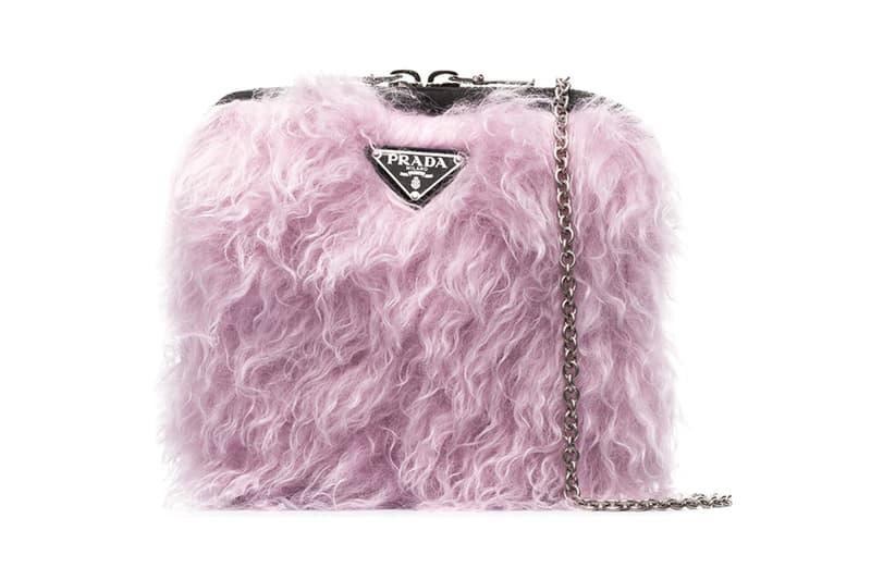 Prada Cargo Fluffy Faux fur Pink '90s Shoulder Bag browns