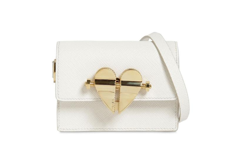 Prada Heart Lock Mini Cross Body Bag in White Accessory Designer Tiny Bag Trend Purse