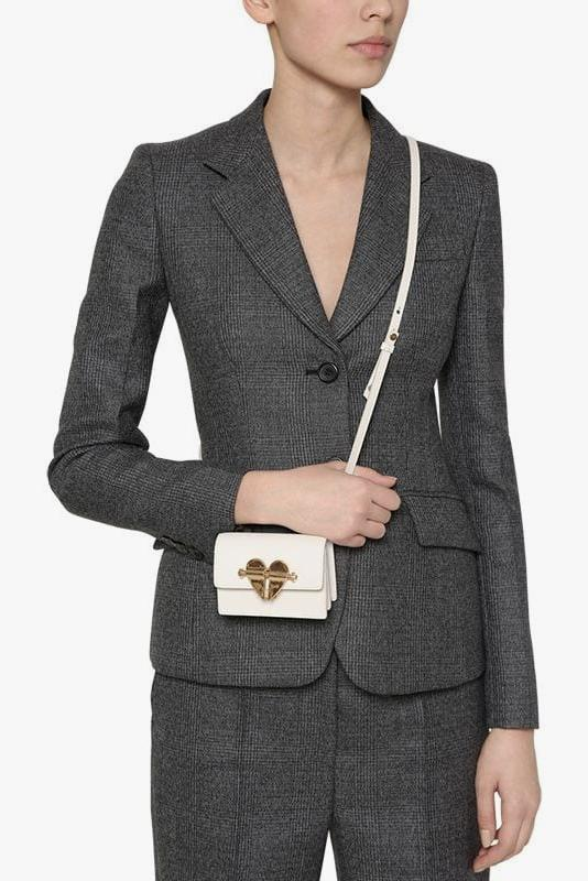 Prada Heart Lock Mini Cross Body Bag in White Accessory Designer Tiny Bag Trend Purse