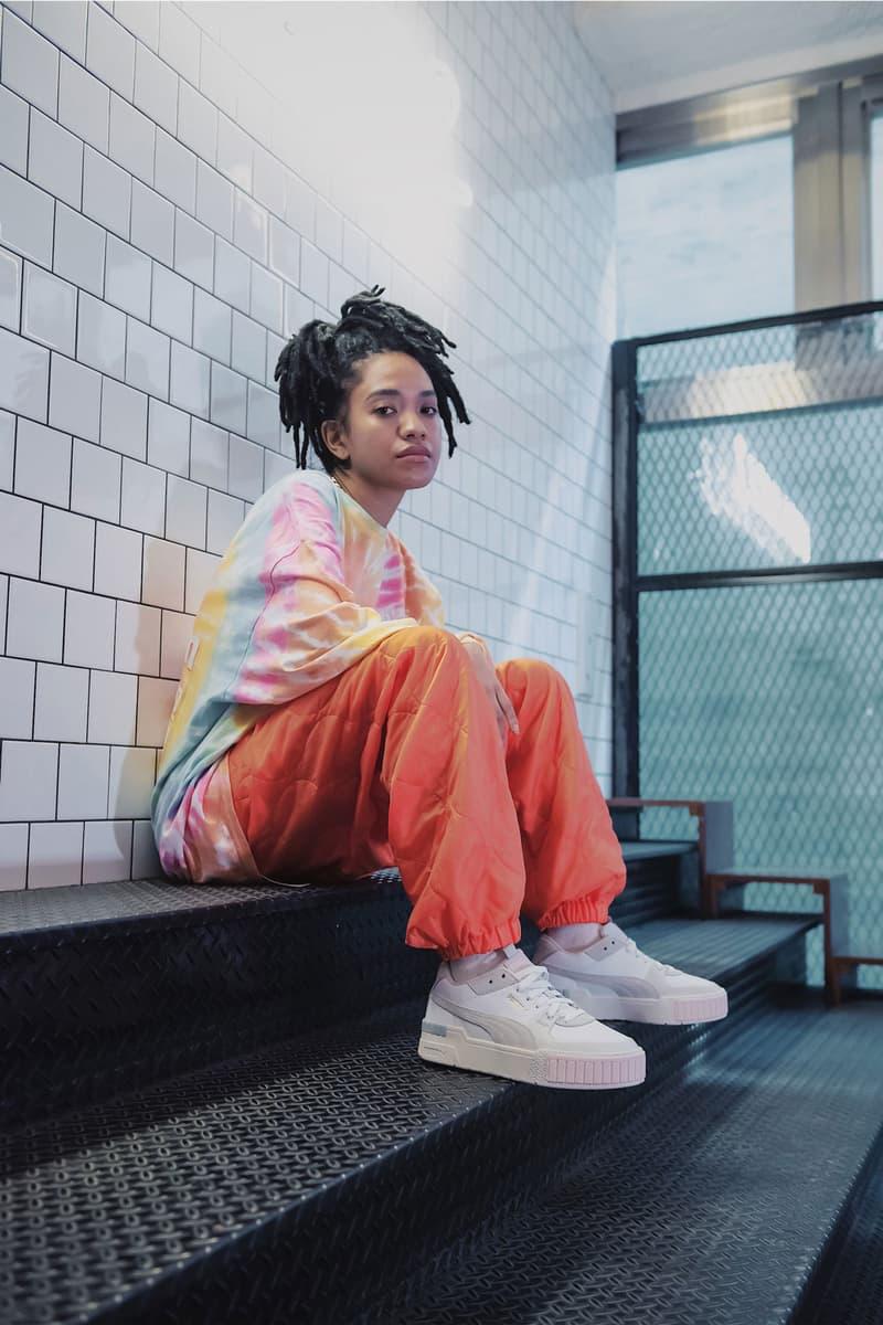 puma cali sport sneaker fall winter 2019 tokyo lookbook tie dye top orange pants