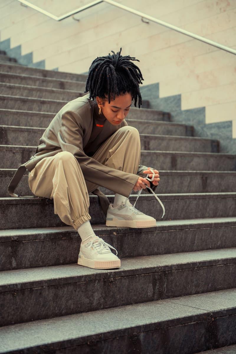 puma cali sport sneaker fall winter 2019 tokyo lookbook brown slouchy pants brown top