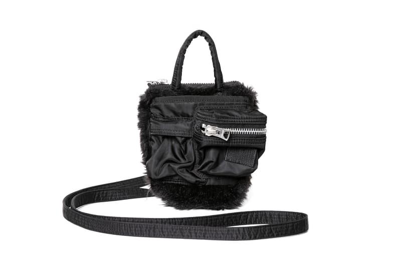 sacai x Porter Bag Collaboration Nylon Zip Pouch Furry Olive Green Black Accessory