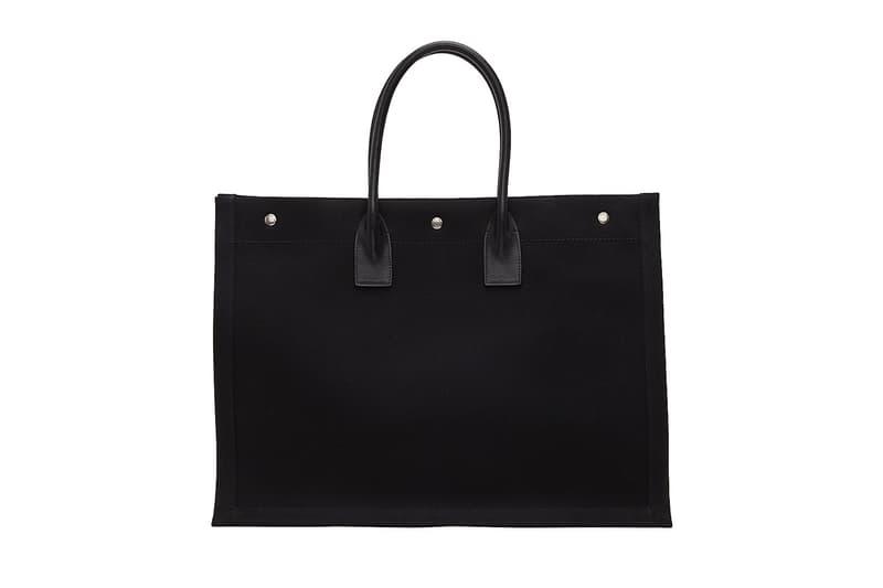Saint Laurent Logo Canvas Tote Bag Black Beige White Print YSL Big Bag Designer