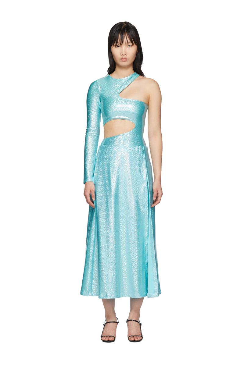SSENSE Exclusive Saks Potts Asymmetric Jumpsuit and Skirt Set Blue