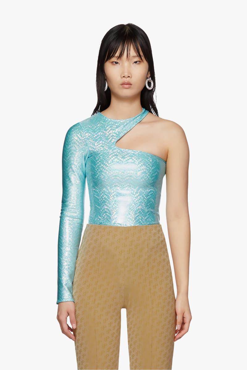 SSENSE Exclusive Saks Potts Asymmetric One-Piece Swimsuit Blue