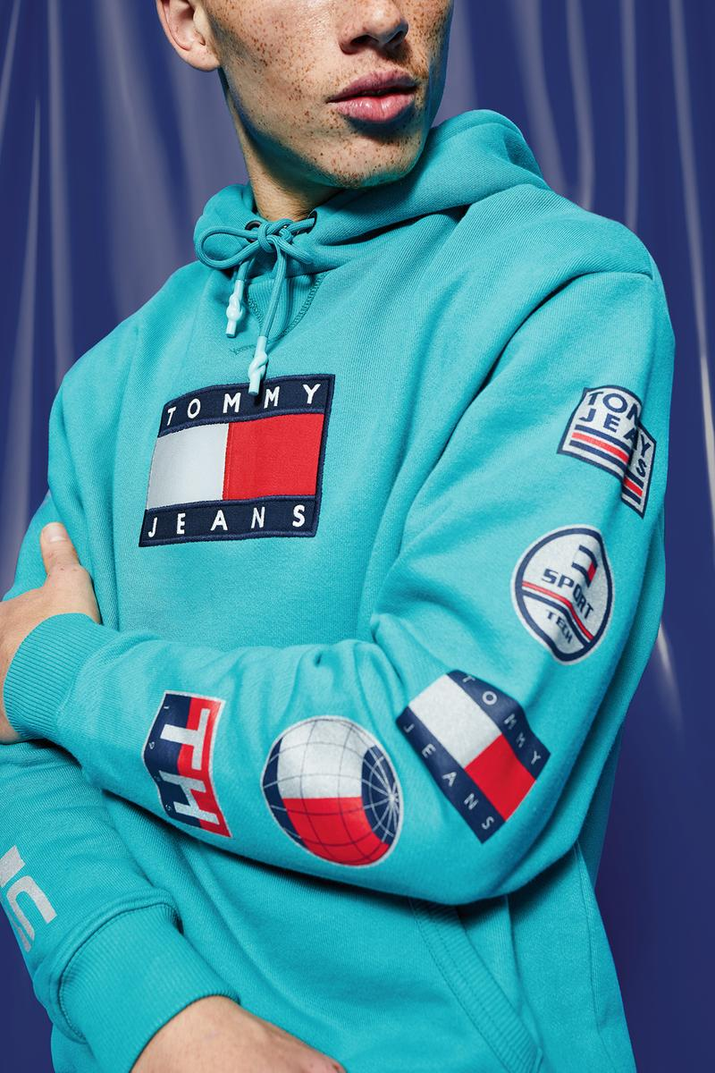 Tommy Hilfiger Jeans Sport Tech Denim Collection Hoodie Teal Blue