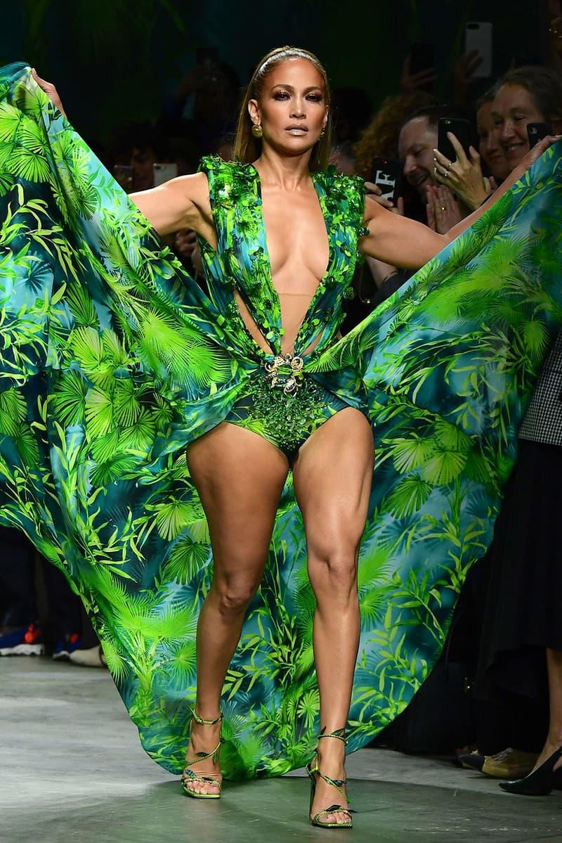 versace fashion nova sue lawsuit jennifer lopez grammys green blue dress trademark