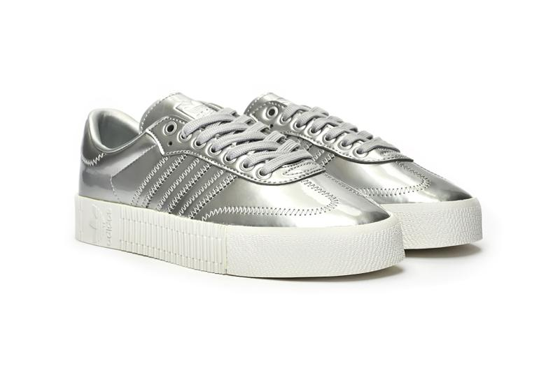 adidas originals sambarose sneakers silver metallic shoes footwear