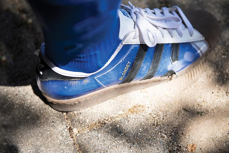 adidas skateboarding blondey mccoy superstar sneaker transparent shoes footwear sneakerhead white brown blue socks
