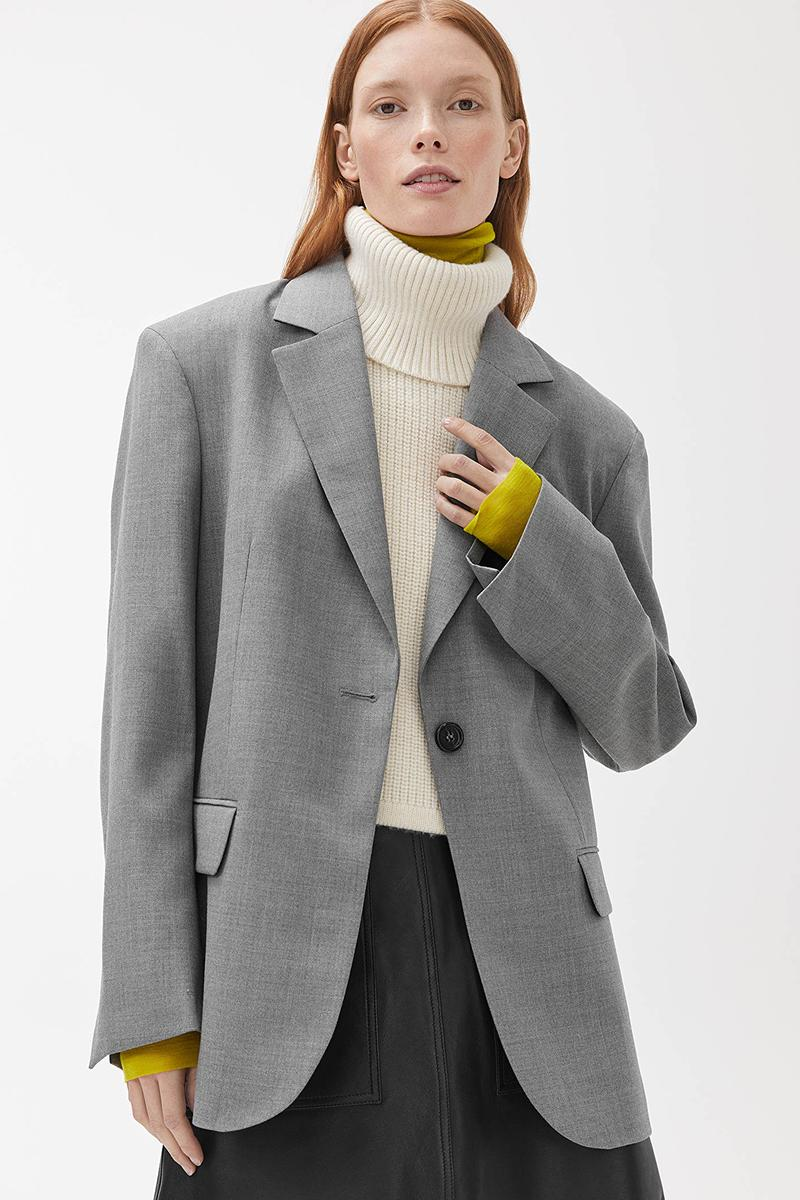 ARKET Oversized Hopsack Wool Blazer Grey Melange White Turtleneck Sweater Skirt Minimalist