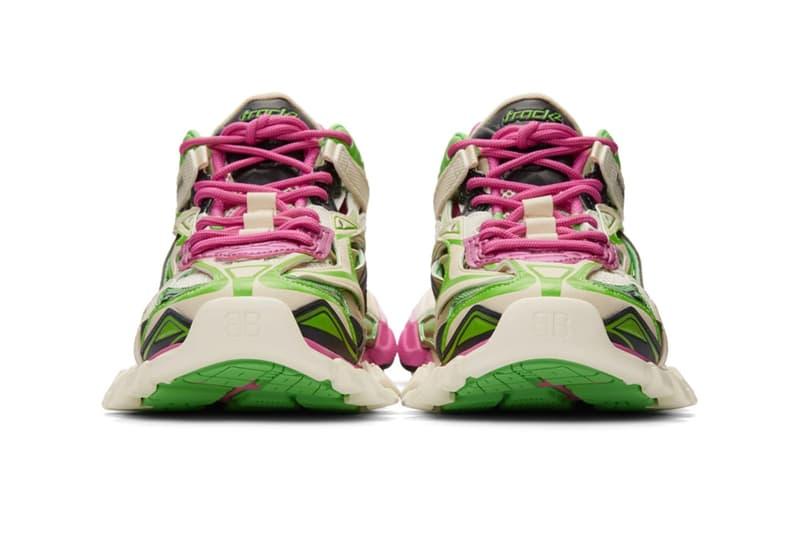 Balenciaga Track.2 Sneaker Pink White Green Caging Futuristic Trainer Shoe Layered Design Colorway