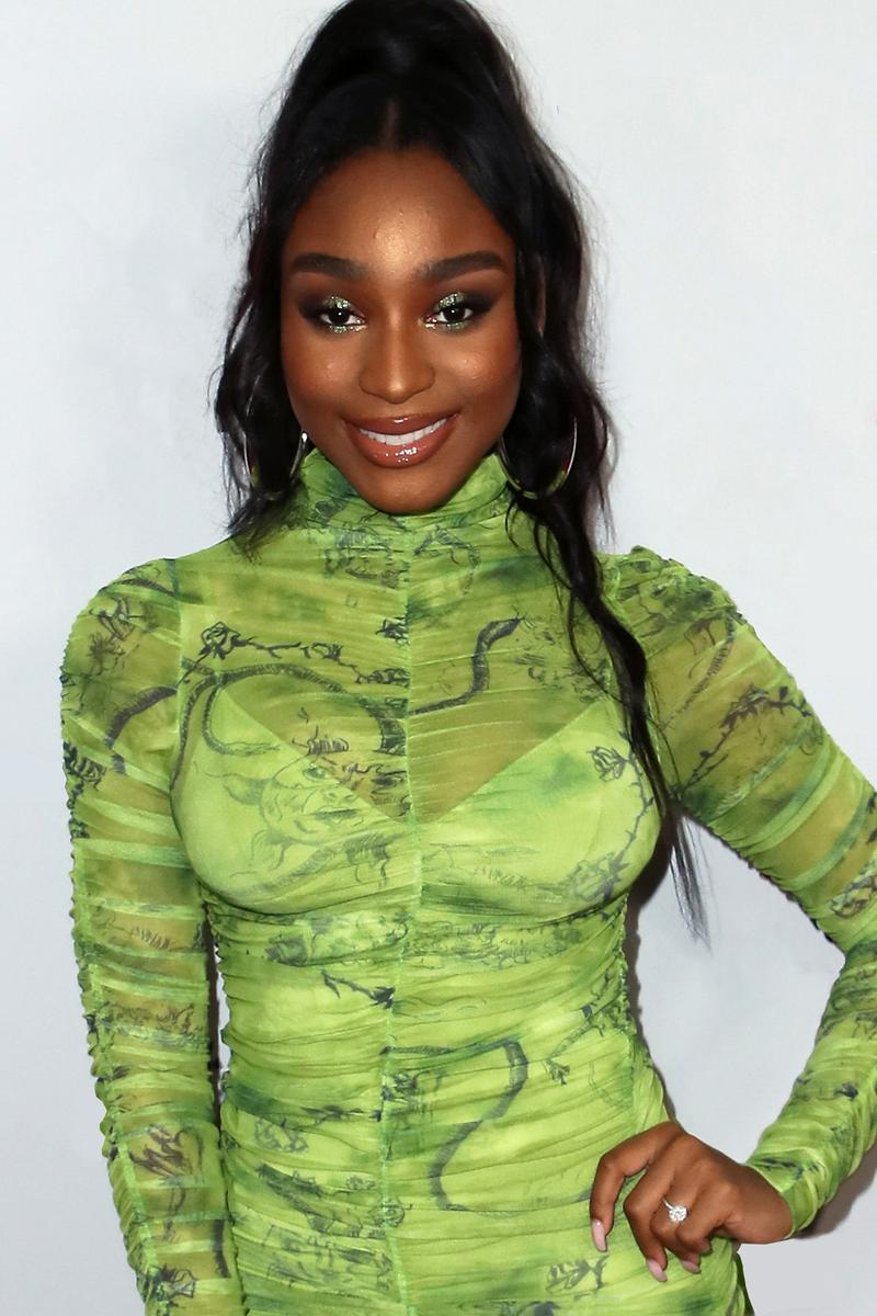 Normani Jingle Ball Green Dress Ponytail Singer Music Artist Celebrity Fashion Style