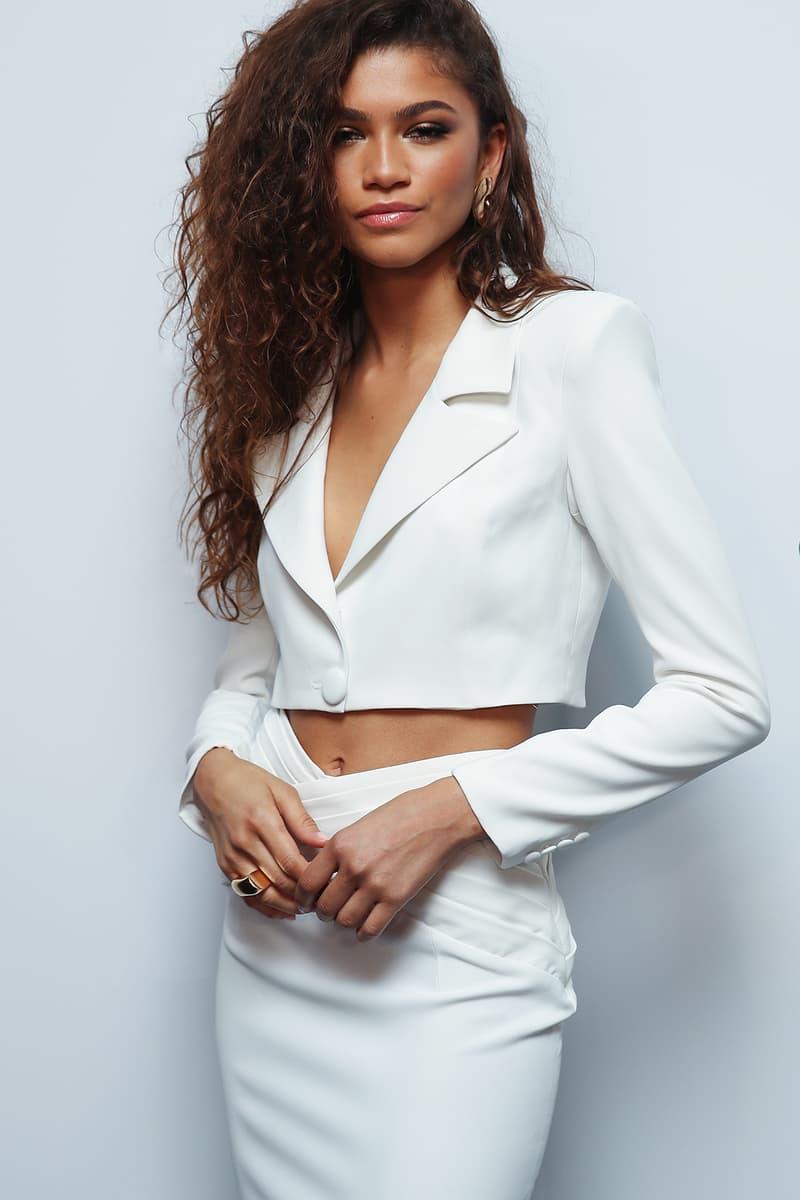 Zendaya GQ Men of the Year Awards 2019 Sydney Australia White Suit Blazer Crop Celebrity Style Fashion Hair Hairstyle Curls Curly