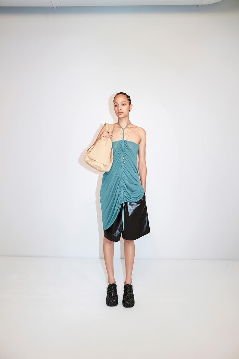 Bottega Veneta Pre-Fall 2020 Collection Lookbook Ruched Top Blue Shorts Black