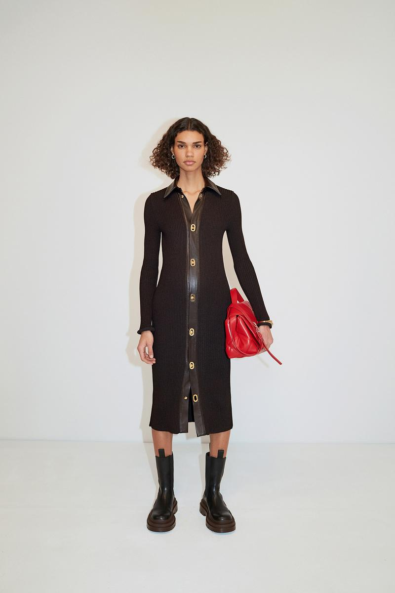Bottega Veneta Pre-Fall 2020 Collection Lookbook Button Dress Black