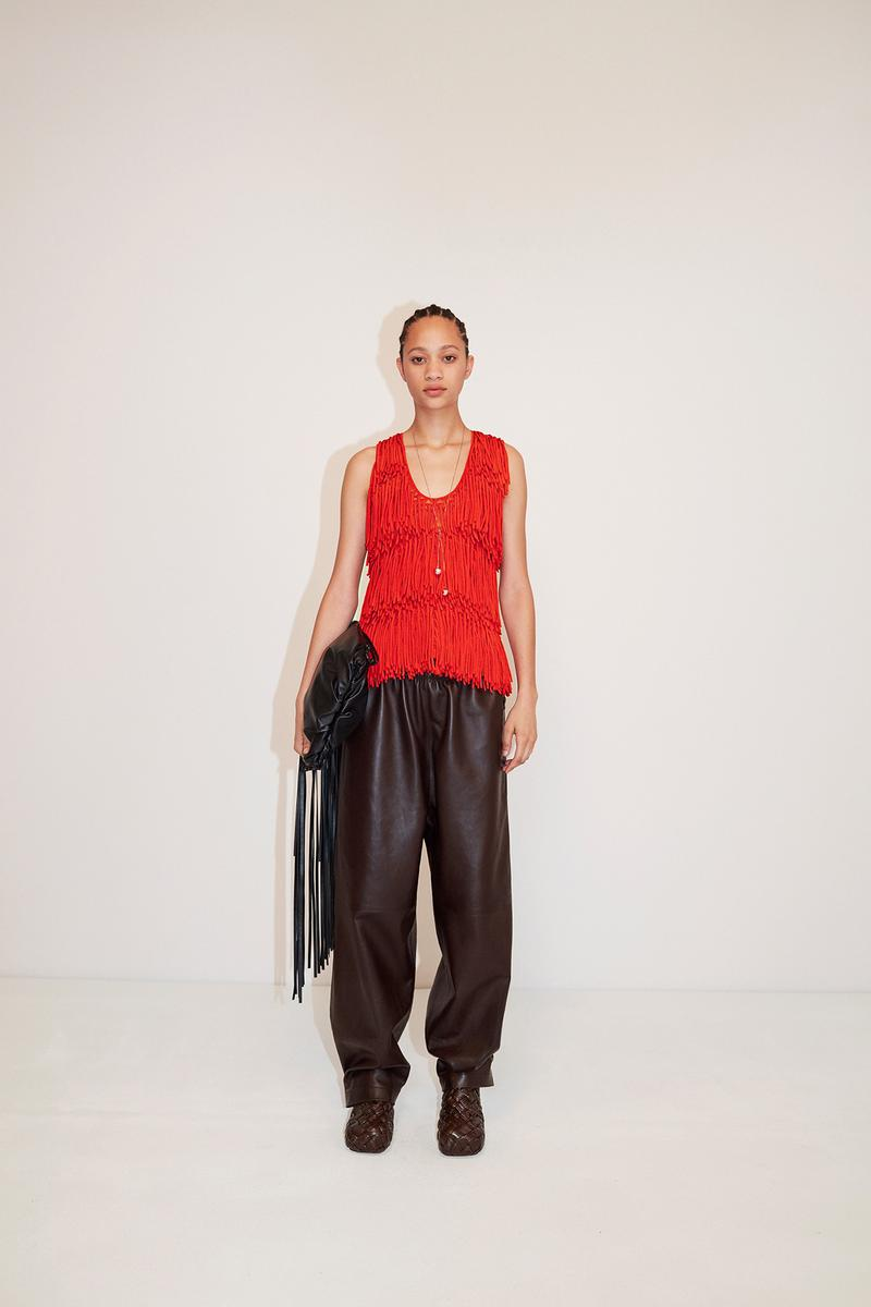 Bottega Veneta Pre-Fall 2020 Collection Lookbook Woven Top Red Leather Pants