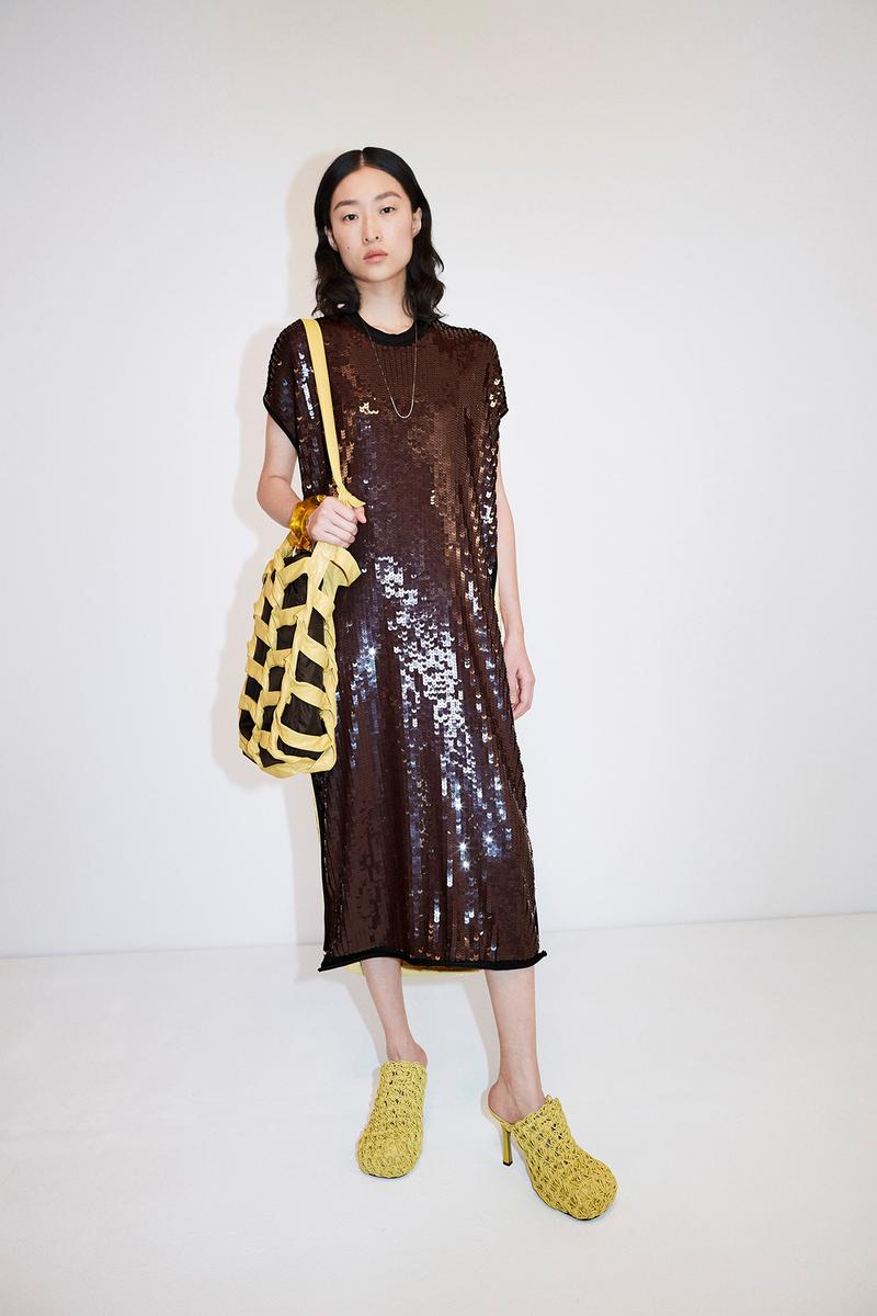 Bottega Veneta Pre-Fall 2020 Collection Lookbook Sequin Dress Brown