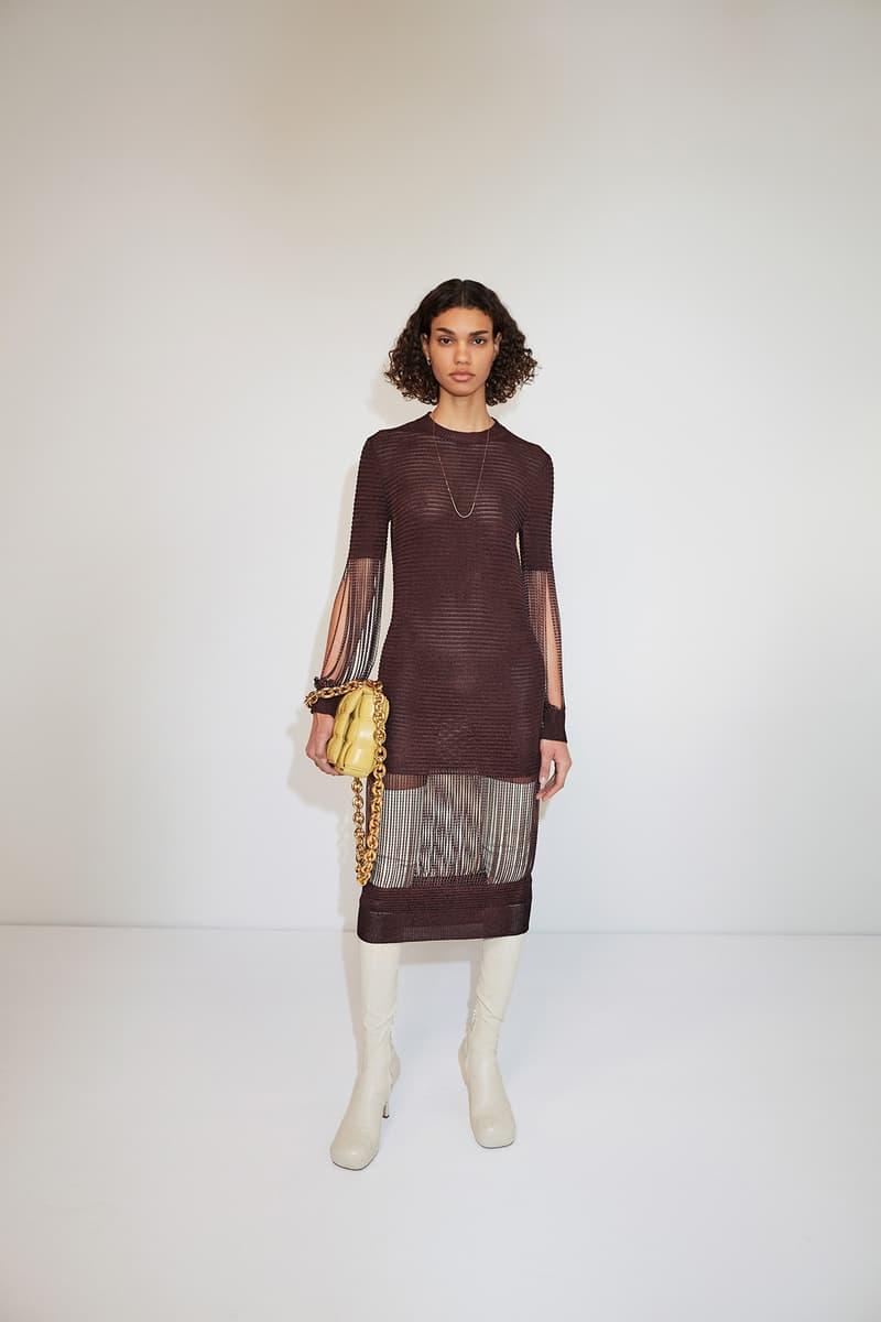 Bottega Veneta Pre-Fall 2020 Collection Lookbook Knit Dress Sheer Brown