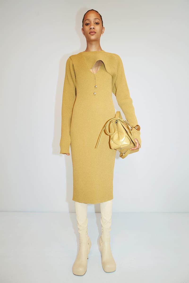 Bottega Veneta Pre-Fall 2020 Collection Lookbook Knit Dress Yellow Mustard