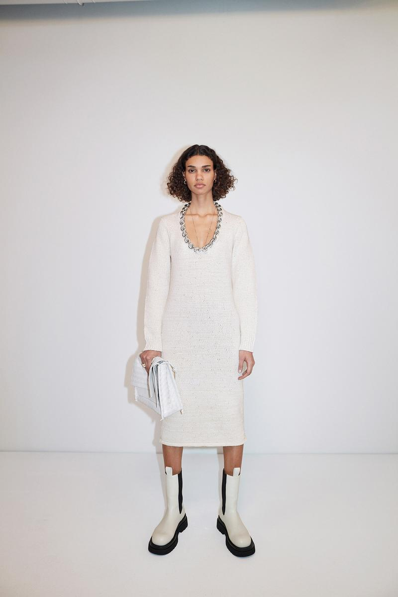 Bottega Veneta Pre-Fall 2020 Collection Lookbook Knit Dress White Chain