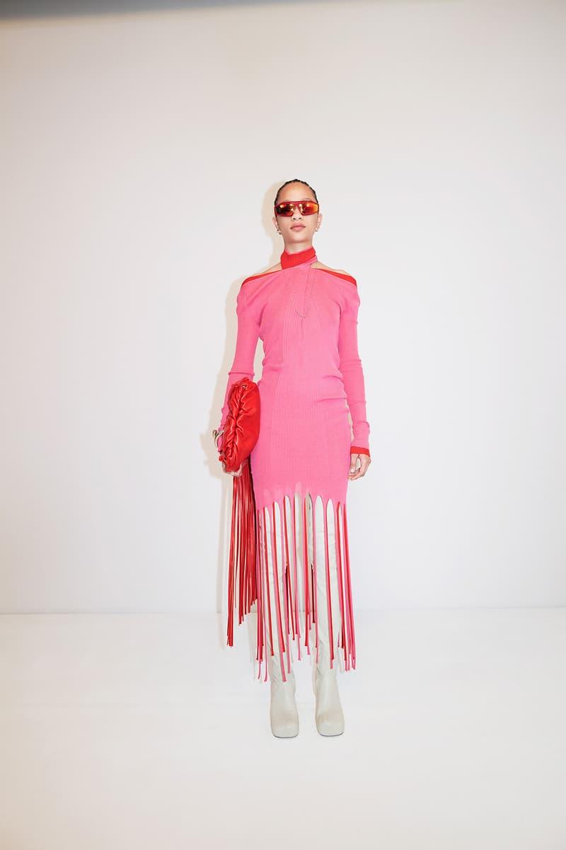 Bottega Veneta Pre-Fall 2020 Collection Lookbook Fringe Woven Dress Pink