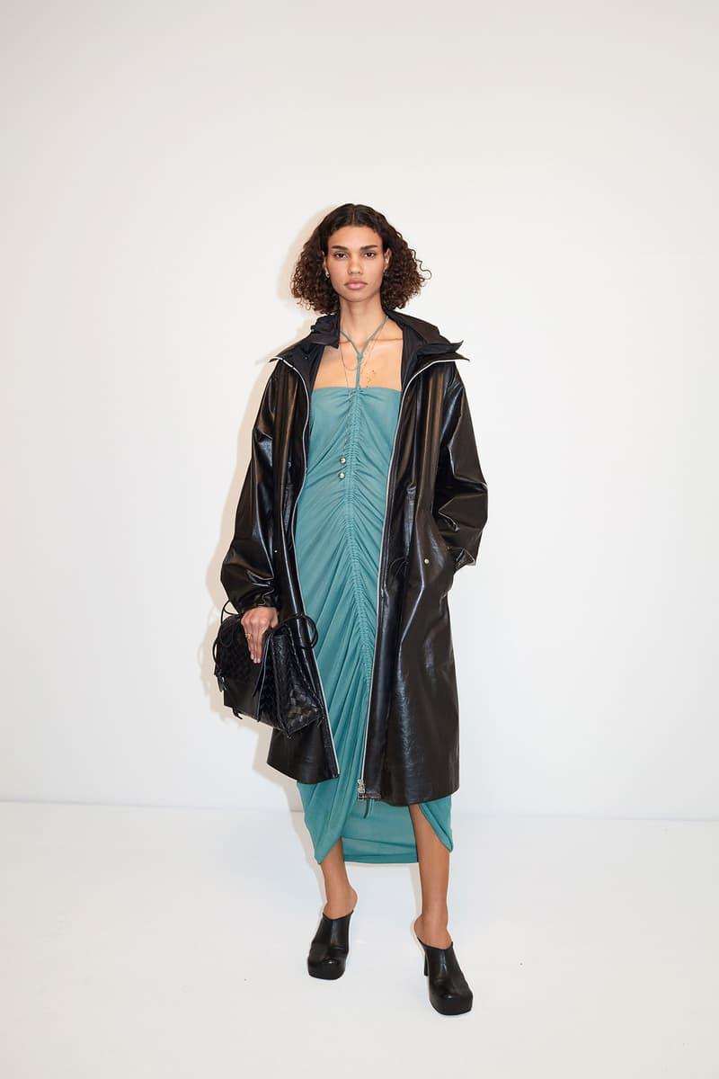 Bottega Veneta Pre-Fall 2020 Collection Lookbook Ruched Dress Blue Coat Black