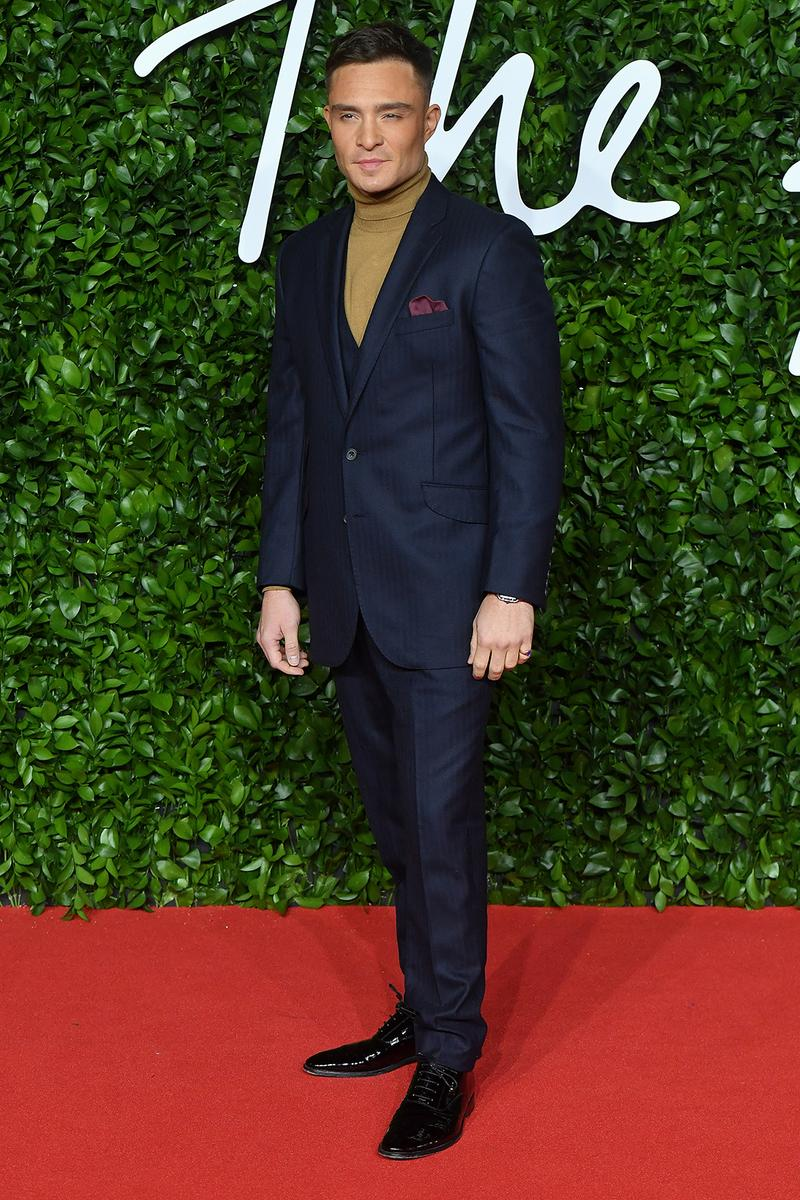 british fashion awards bfas best celebrity red carpet looks ed westwick gossip girl