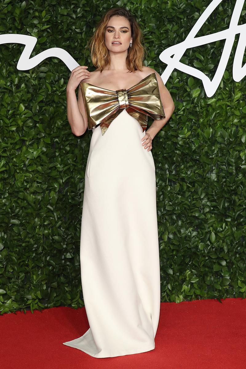 british fashion awards bfas best celebrity red carpet looks lily james