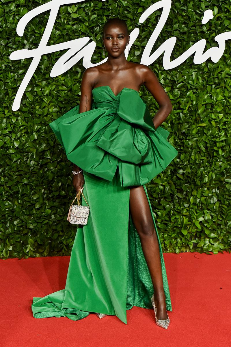 british fashion awards bfas best celebrity red carpet looks adut akech emerald green gown model