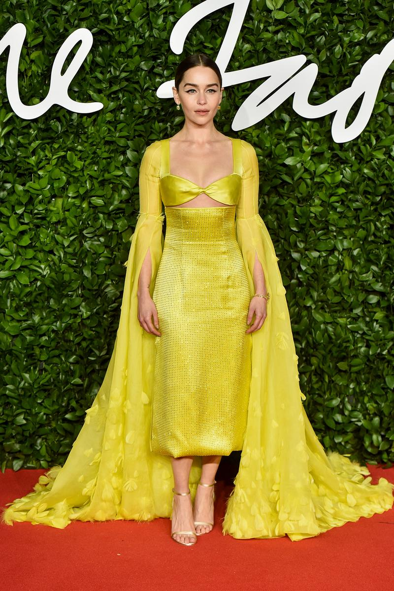 british fashion awards bfas best celebrity red carpet looks emilia clarke yellow gown dress