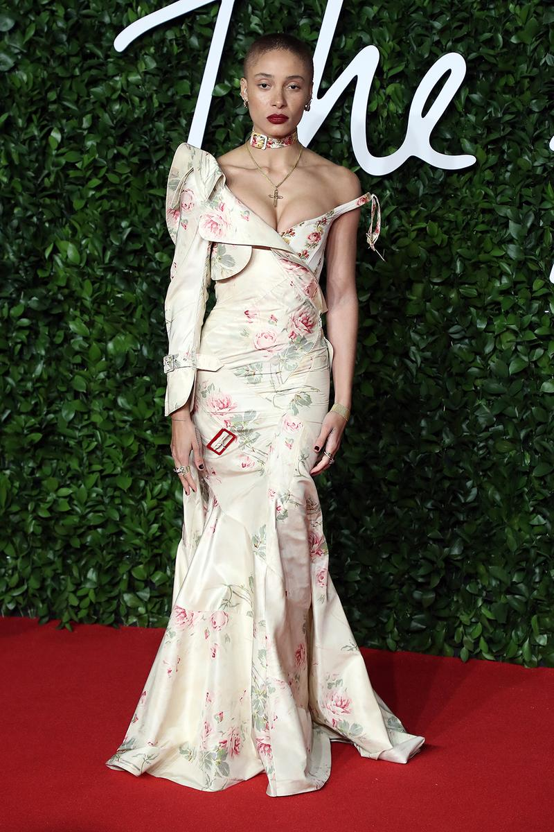 british fashion awards bfas best celebrity red carpet looks adwoa aboah model gown dress floral white