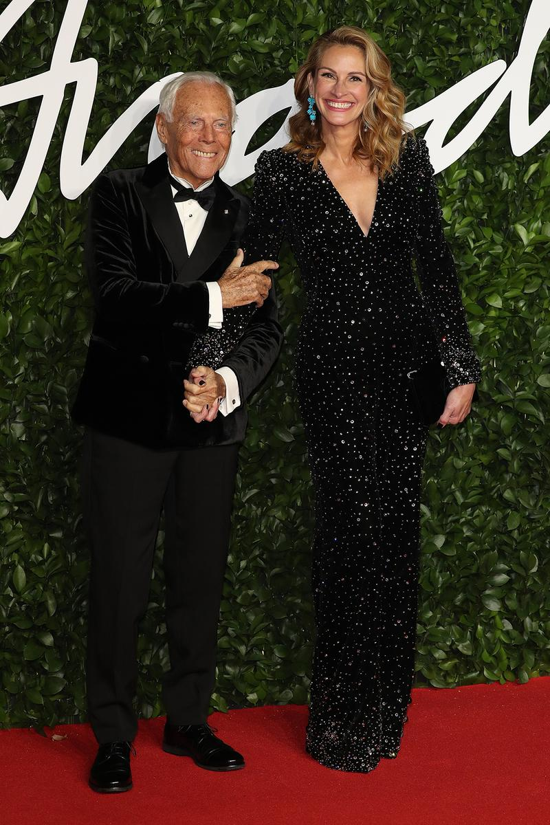 british fashion awards bfas best celebrity red carpet looks giorgio armani julia roberts