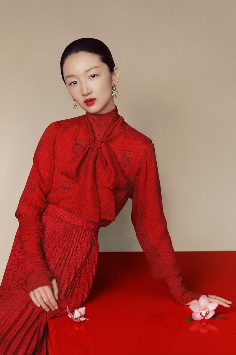 burberry chinese new year 2020 campaign union sneaker lola bag zhou dongyu liang jiyuan jackets scarf blazer red jewelry lola bag