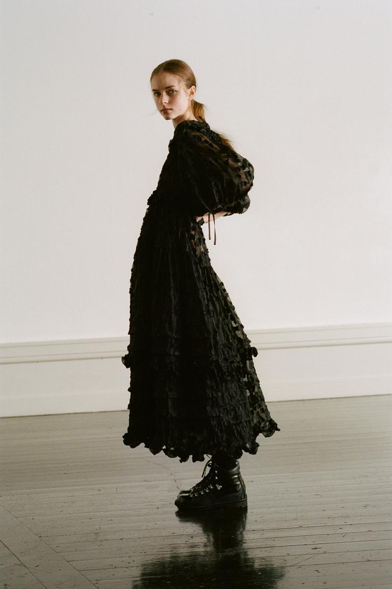 Cecilie Bahnsen Pre-Fall 2020 Collection Lookbook Ruffled Puff Sleeve Dress Black