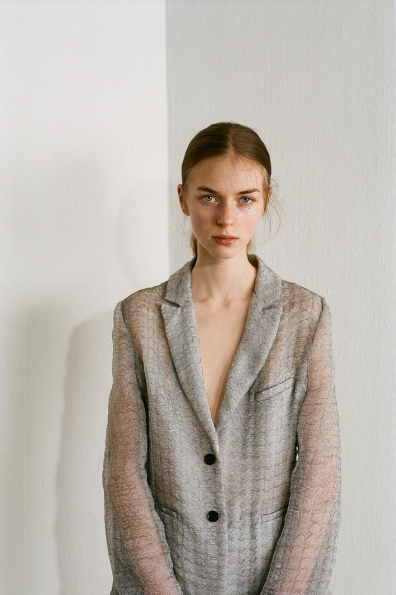 Cecilie Bahnsen Pre-Fall 2020 Collection Lookbook Sheer Blazer Grey