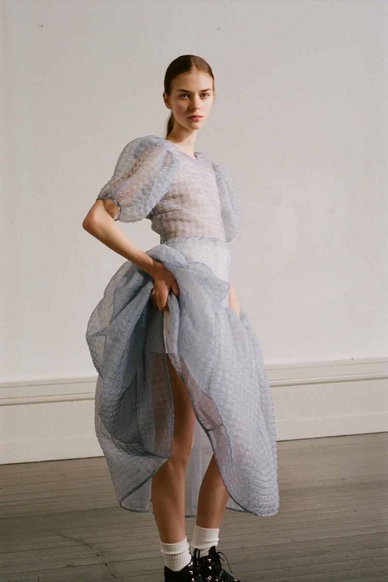 Cecilie Bahnsen Pre-Fall 2020 Collection Lookbook Puff Sleeve Dress Blue Grey