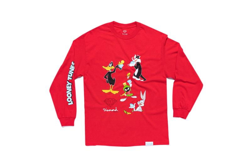 Looney Tunes x Diamond Supply Co. Collection Sylvester Bugs Bunny Daffy Duck Marvin the Martian Long Sleeve Red