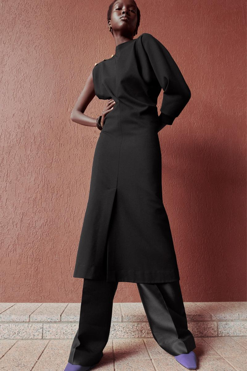 Givenchy Pre-Fall 2020 Collection Lookbook Asymmetrical Dress Trousers Black