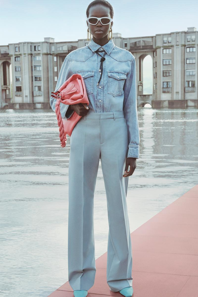 Givenchy Pre-Fall 2020 Collection Lookbook Denim Shirt Trousers Blue ID93 Bag Peach